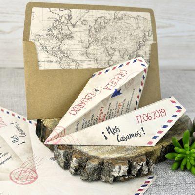 invitación original avión de papel
