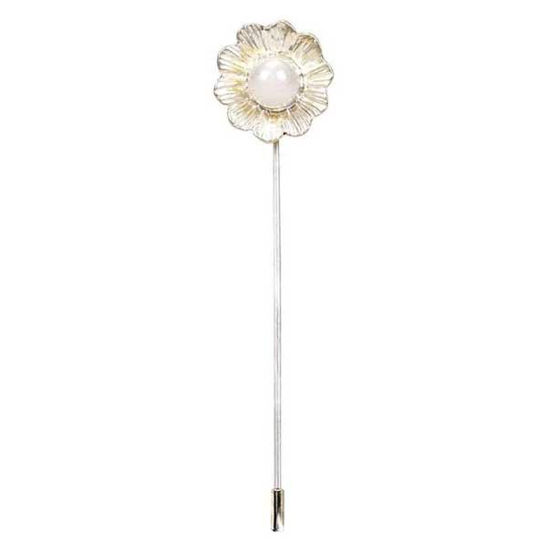 alfiler flor con perla