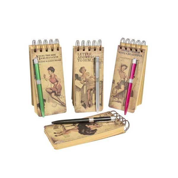 bonita y económica libreta vintage con bolígrafo