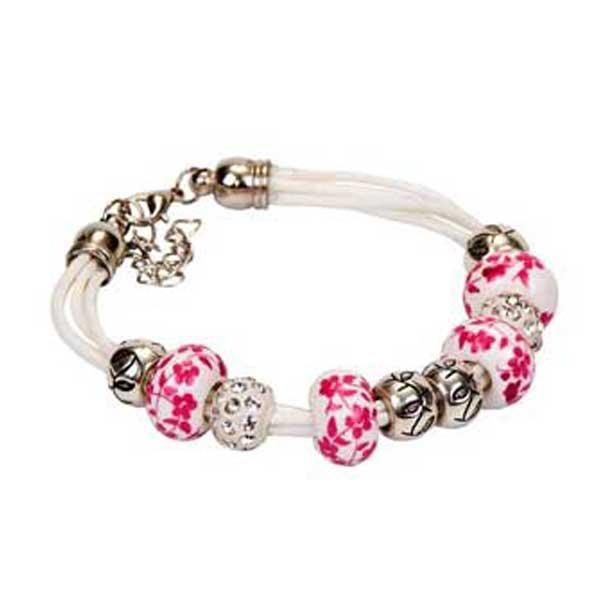 preciosa pulsera eslabones rosa