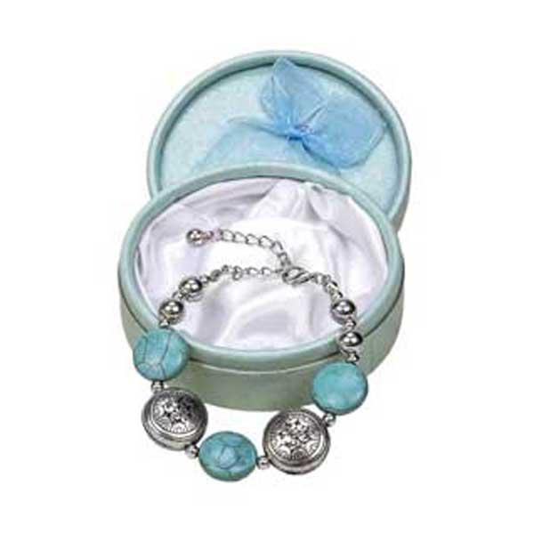 preciosa pulsera con piedras turquesa