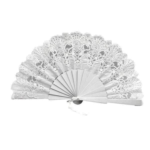 precioso abanico de novia color blanco