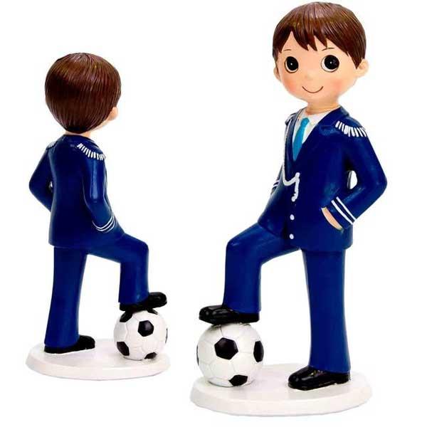 original muñeco de comunión con balón de fútbol.