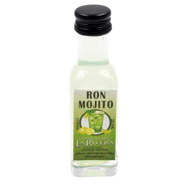 licor mojito en botella de cristal