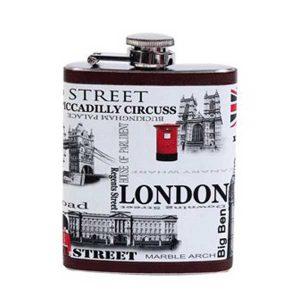 original y bonita petaca estilo vintage con detalles de Londres