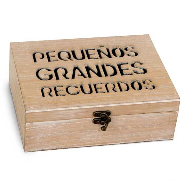 preciosa caja de madera con frase